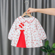 [352176-WHITE RED] - Dress Import Anak Perempuan High Fashion - Motif Little Leaf