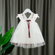 [352178-RED RIBBON] - Dress Import Anak Perempuan High Fashion - Motif Lace Collar Ribbon