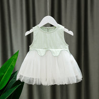 [352179-GREEN] - Dress Import Anak Perempuan High Fashion - Motif Gingham Butterfly