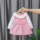 [352215-PINK] - Dress Import Anak Perempuan High Fashion - Motif Gingham Two Hearts