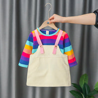 [352219-PURPLE RAINBOW] - Setelan Overall Anak High Fashion Import - Motif Color Pin Pattern