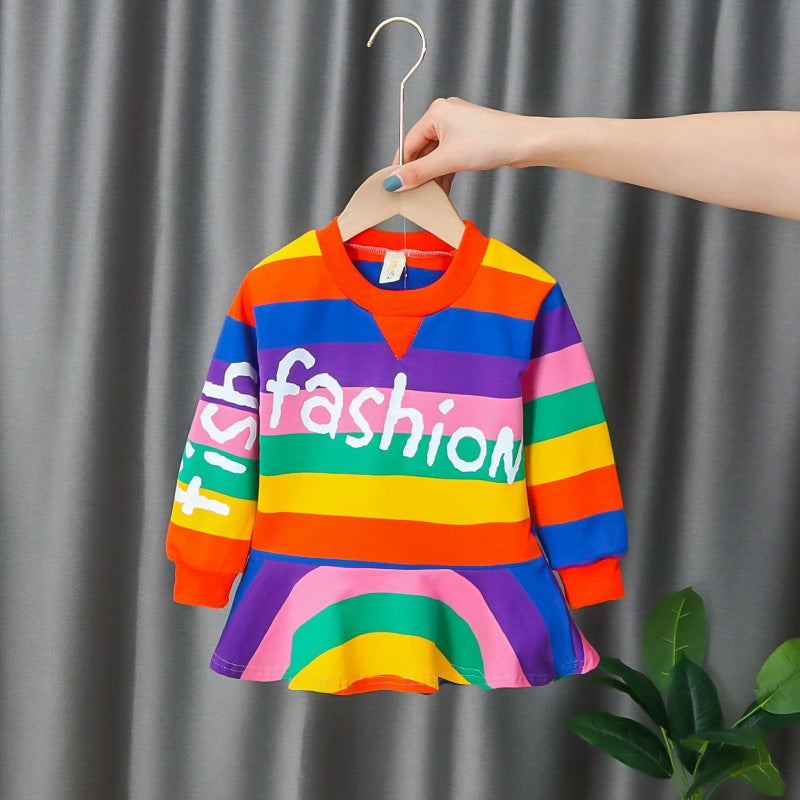 [352225-ORANGE BRICK RAINBOW] - Dress Import Anak High Fashion - Motif Fish Fashion