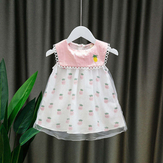 [352229-PINK WHITE] - Dress Import Anak High Fashion / Dress Anak Perempuan - Motif Pineapple Smile