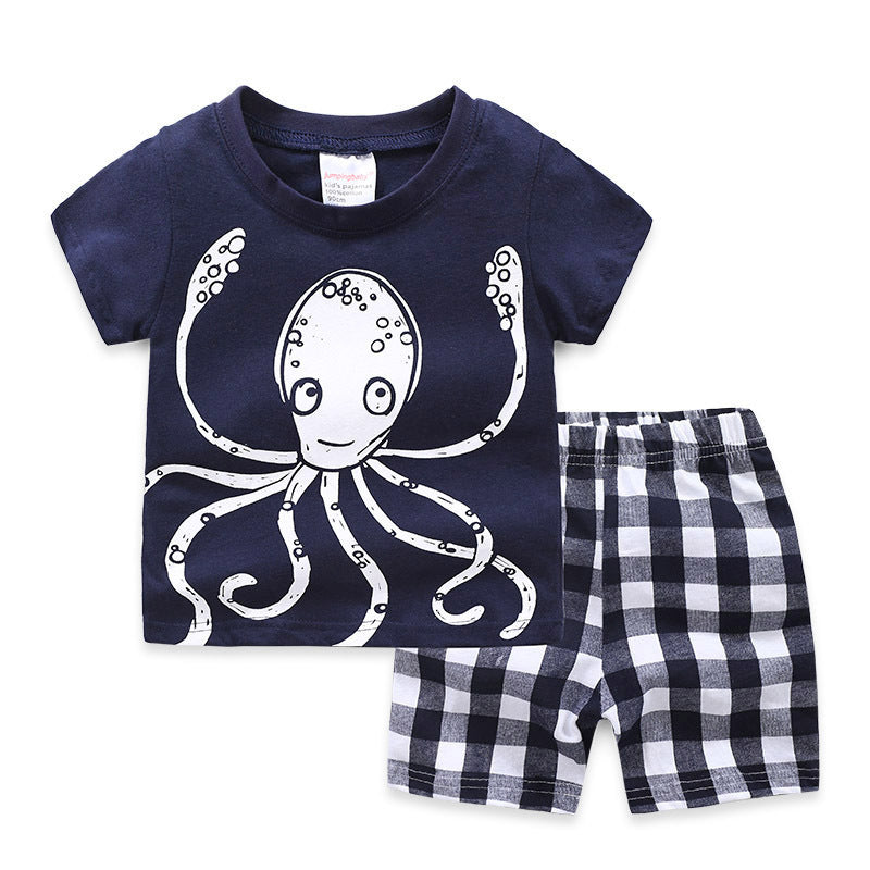 [354335] - Baju Setelan Street Wear Anak Import Sleek Style - Motif Gingham Octopus