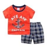 [354338] - Baju Setelan Street Wear Anak Import Sleek Style - Motif Tartan Anchor