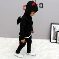 [356102-BLACK] - Setelan Anak Hoodiee Korean Style - Motif 3D Solid Winged Color