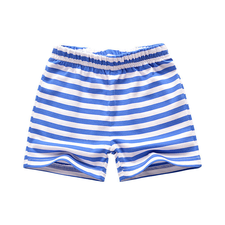 [357229-BLUE WHITE] - Celana Training Anak Import / Celana Pendek Anak - Motif Horizontal Striped