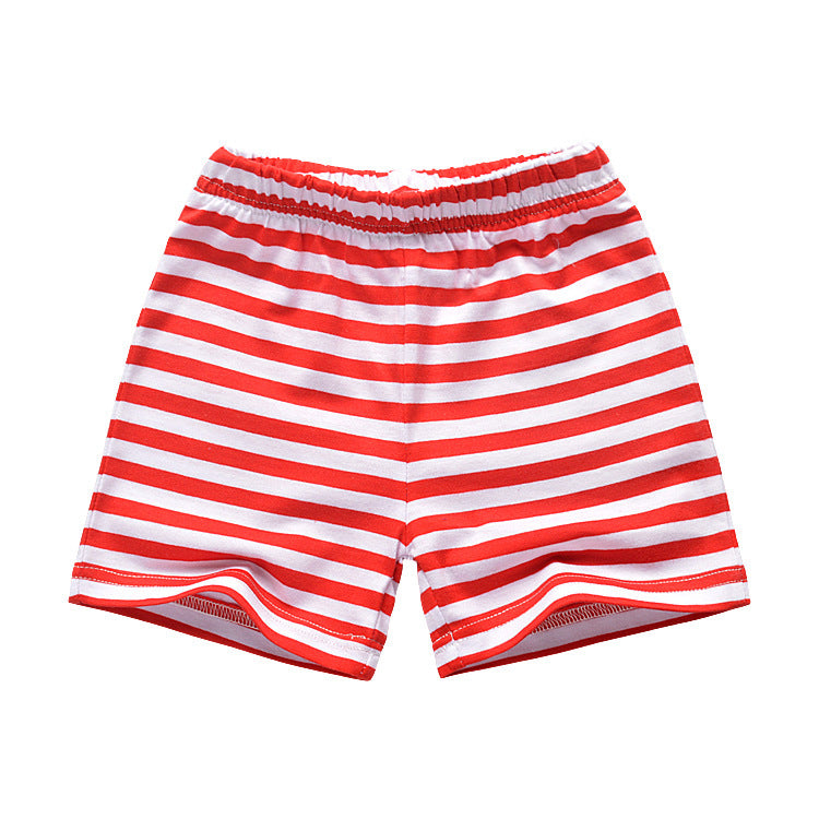 [357229-RED WHITE] - Celana Training Anak Import / Celana Pendek Anak - Motif Horizontal Striped