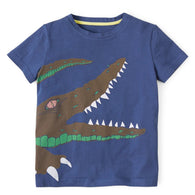 [357267] - Atasan Anak Kaos Import / Baju Atasan Summer Anak Trendi - Motif Crocodile Sharp Teeth