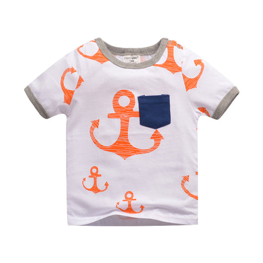 [357385] - Atasan Kaos Anak Import / Baju Atasan Summer Anak Trendi - Motif Great Anchor Pattern