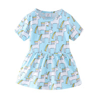 [357409-LIGHT BLUE] - Dress Anak Perempuan Modis / Dress Anak Import - Motif Unicorn Cartoon