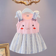 [358180-PINK] - Dress Tanpa Lengan Anak Perempuan Import - Motif Cute Animal Face
