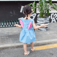 [358191-LIGHT BLUE] - Dress 3D Anak Perempuan High Fashion Import - Motif Flowers & Wings