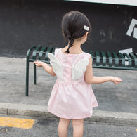 [358191-LIGHT PINK] - Dress 3D Anak Perempuan High Fashion Import - Motif Flowers & Wings