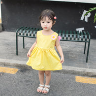 [358191-YELLOW] - Dress 3D Anak Perempuan High Fashion Import - Motif Flowers & Wings