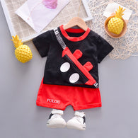 [358193-BLACK] - Setelan 3D Street Wear Anak Sleek Style Import - Motif Mickey Illusion