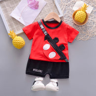 [358193-RED] - Setelan 3D Street Wear Anak Sleek Style Import - Motif Mickey Illusion