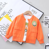 [358195-ORANGE] - Atasan Jaket Sleting Anak Import / Atasan Jaket Fashion Anak - Motif Lion Face