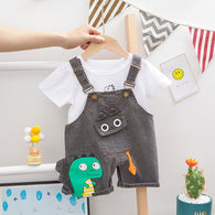 [358197-LIGHT BLACK] - Setelan 3D Overall Anak Sleek Style Import - Motif Baby Dino