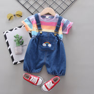 [358202-LIGHT PURPLE] - Baju Setelan 3D Overall Anak Perempuan Import - Motif Rainbow Color