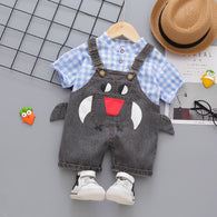 [358204-BLUE BLACK] - Baju Setelan Overall Anak Import / Setelan Fashion Anak - Motif Animal Face