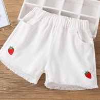 [361122-WHITE] - Celana Jeans Anak / Celana Pendek Jeans Anak Stylish - Motif Solid Strawberry Color