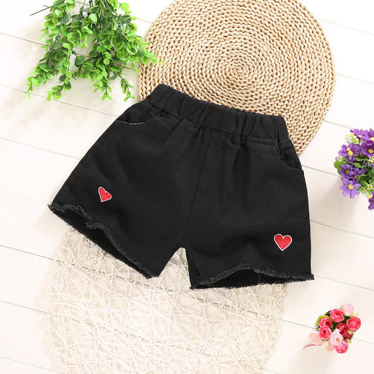 [361124-BLACK] - Celana Pendek Jeans Anak Modish - Motif Solid Color of Love