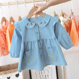[362104-LIGHT BLUE] - Dress Anak Perempuan Trendi - Motif Cat Silhouette