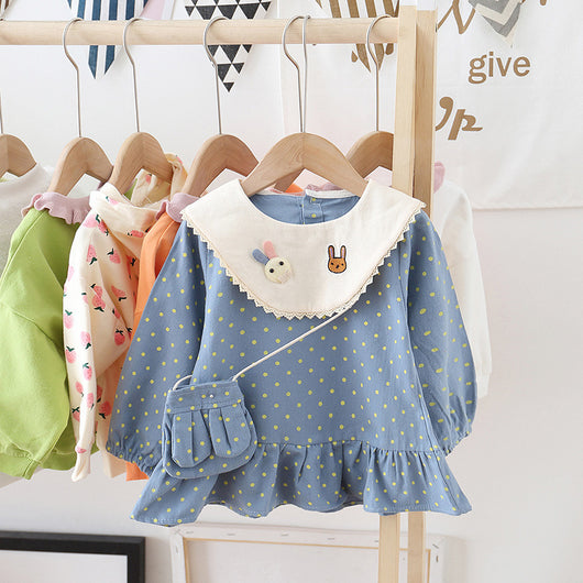 [362107-BLUE] - Dress Anak Perempuan Trendi - Motif Little Polkadot Rabbit
