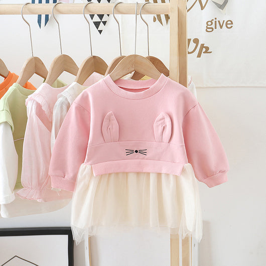 [362115-PINK] - Dress Anak Perempuan Trendi - Motif Rabbit Ears