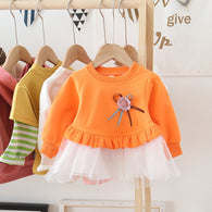 [362123-ORANGE] - Dress Anak Perempuan Trendi - Motif 3D Flower Ribbons