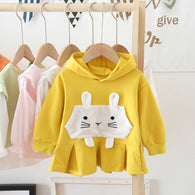 [362125-MUSTARD] - Dress Sweater Anak Perempuan Trendi - Motif 3D Big Rabbit