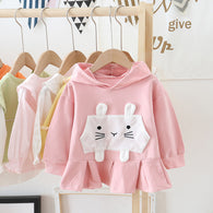 [362125-PINK] - Dress Sweater Anak Perempuan Trendi - Motif 3D Big Rabbit