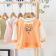 [362133-ORANGE] - Dress Sweater Anak Perempuan Trendi - Motif Girl in Heart