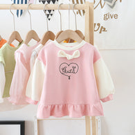[362133-PINK] - Dress Sweater Anak Perempuan Trendi - Motif Girl in Heart