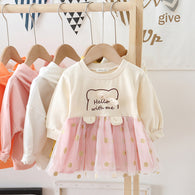 [362134-BEIGE PINK] - Dress Anak Perempuan Trendi - Motif Hello With Me