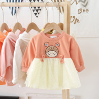 [362138-BRICK ORANGE] - Dress Anak Perempuan Trendi - Motif Baby Head
