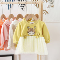 [362138-YELLOW] - Dress Anak Perempuan Trendi - Motif Baby Head