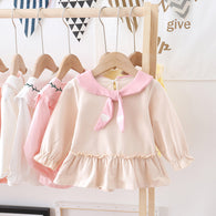 [362139-BEIGE] - Dress Anak Perempuan Trendi - Motif Cute Heart Tie