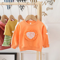 [362143-ORANGE] - Sweater Anak Perempuan Trendi - Motif Heart Ribbon Arm