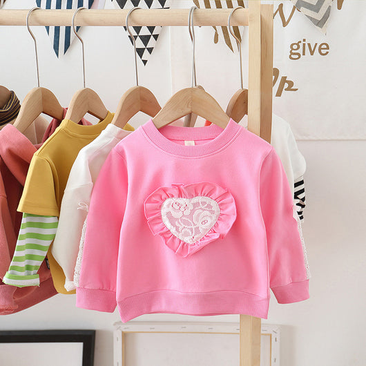 [362143-PINK] - Sweater Anak Perempuan Trendi - Motif Heart Ribbon Arm