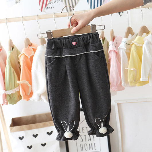 [362154-DARK GRAY] - Celana Panjang Anak Perempuan Import - Motif Striped Heart