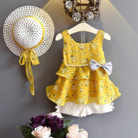 [363106-MUSTARD] - Setelan Fashion Anak Perempuan Modish - Motif Lots of Flowers