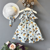 [363112-WHITE] - Dress Fashion Anak Perempuan Modish - Motif Lots of Leaves