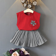 [363113-RED] - Setelan Fashion Anak Perempuan Modis - Motif Pocket Flowers