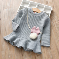 [363136-GRAY] - Dress Fashion Anak Perempuan Modish - Motif Bagged Pompoms