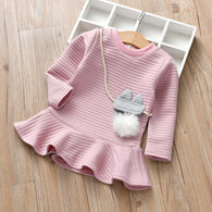 [363136-PINK] - Dress Fashion Anak Perempuan Modish - Motif Bagged Pompoms