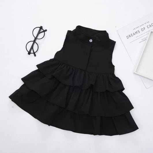 [363141-BLACK] - Dress Fashion Anak Perempuan / Dress Anak Import - Motif Plain Princess Seam
