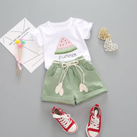 [363142-WHITE GREEN] - Setelan Fashion Anak Modis / Setelan Anak Import - Motif Watermelon Chunks