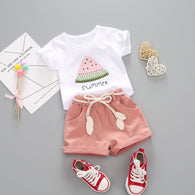 [363142-WHITE PINK] - Import Setelan Fashion Anak - Motif Watermelon Chunks